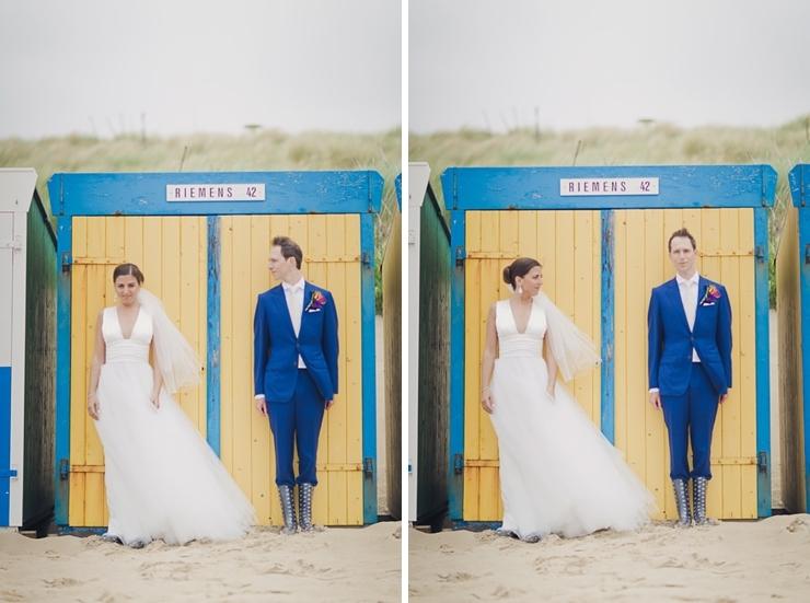 strandhuisje bruidspaar