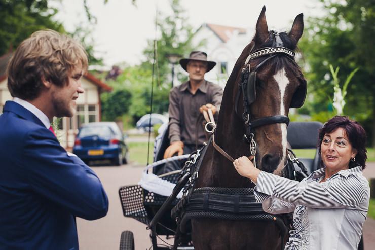 Koets met verzorgpaard oegstgeest trouwfotograaf