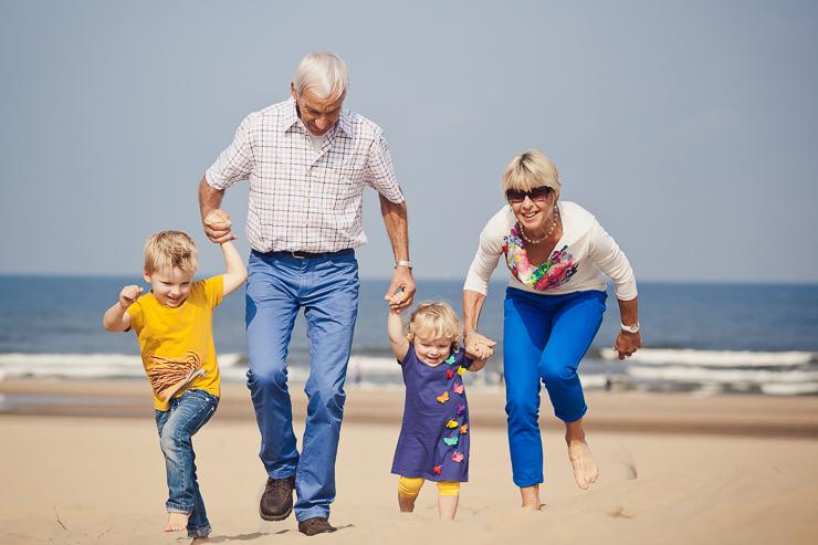 familiefotos op het strand