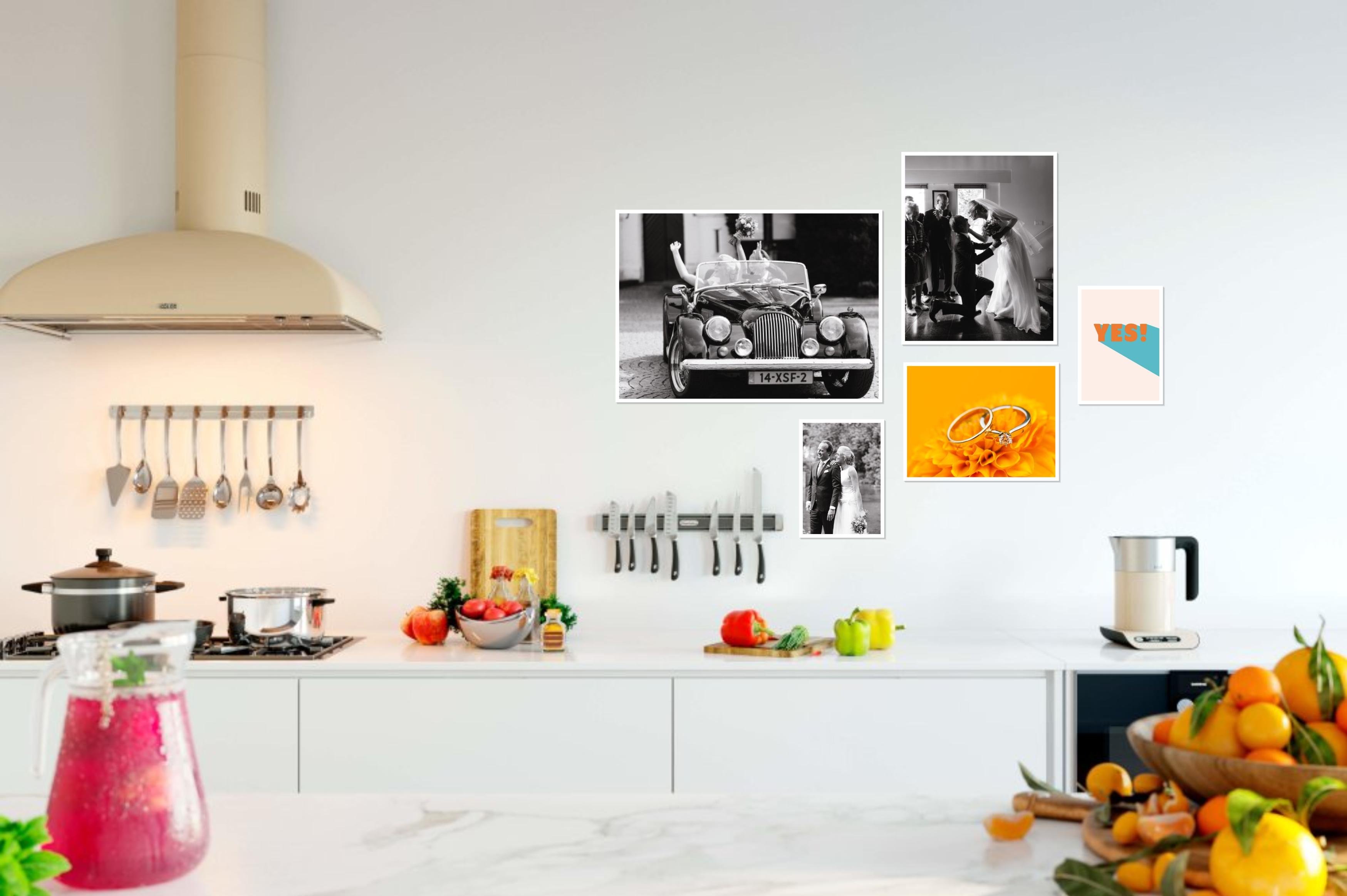 keuken muur installatie portret canvas